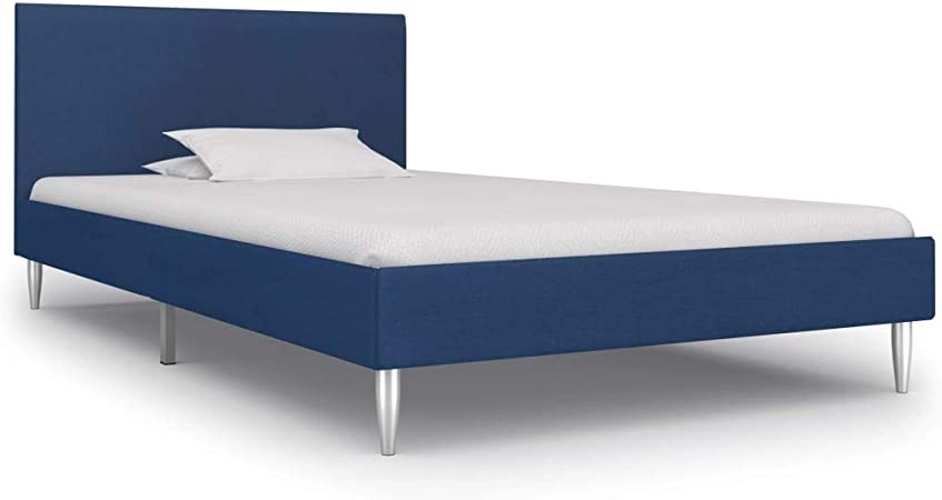 vidaXL Estructura de Cama Tela Tapizada Somier Mobiliario Hogar Diseño Discreto Elegante Estructura Robusta y Duradera Buen Aspecto Azul 90x200cm