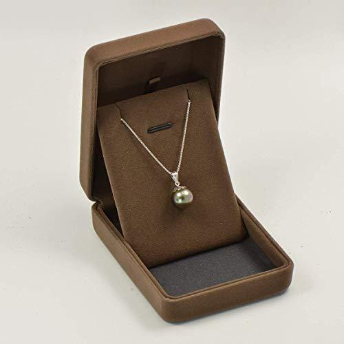 9-10MM Cultured Tahitian Black Pearl Pendant 18K White Gold