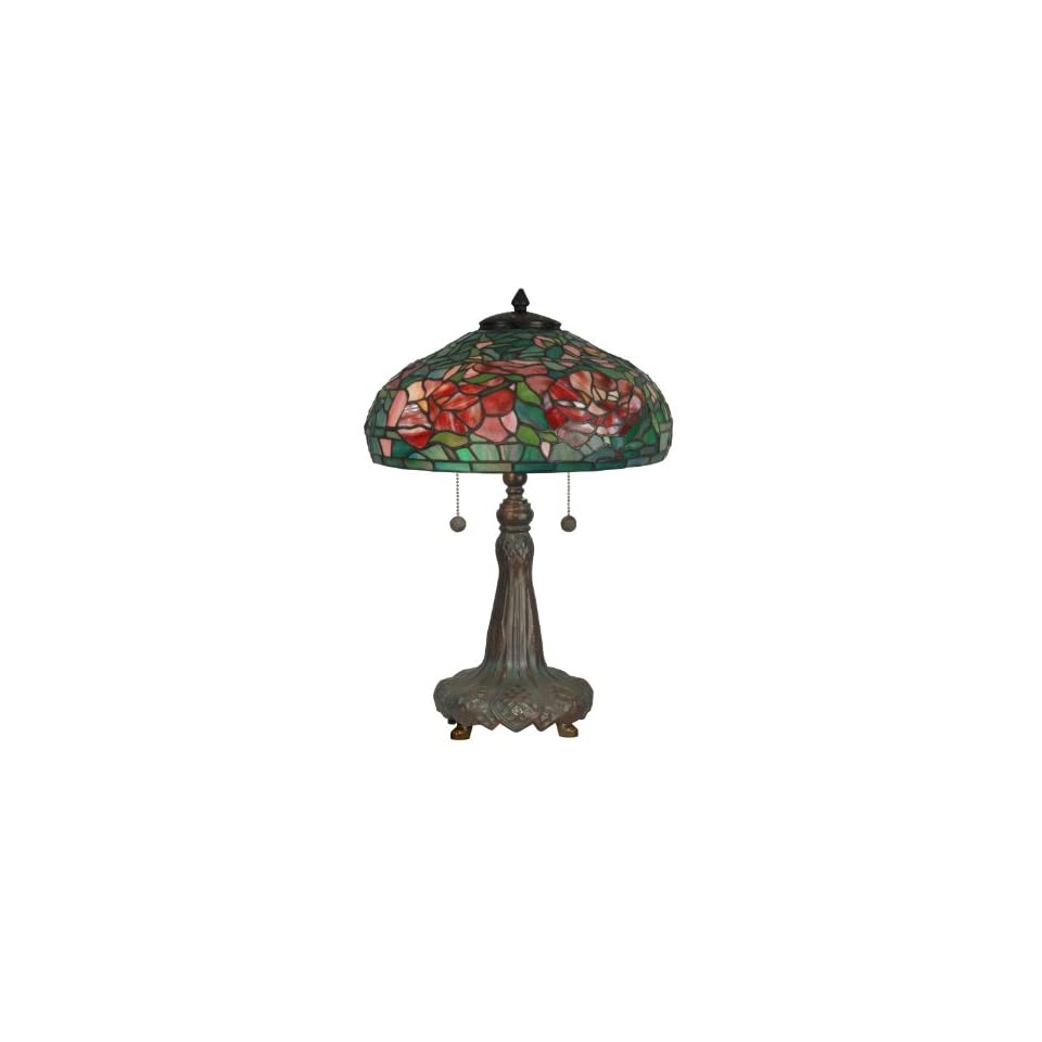 Dale Tiffany TT10026 Tiffany Table Lamp, Dark Antique Bronze Verde Grn and Art Glass Shade
