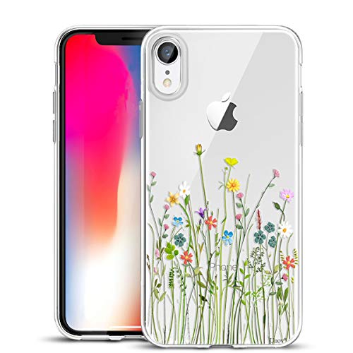 Iphone Design Flower - Unov Case Clear with Design Slim Protective Soft TPU Bumper Embossed Floral Pattern [Support Wireless Charging] Cover for iPhone XR 6.1 Inch(Flower Bouquet)