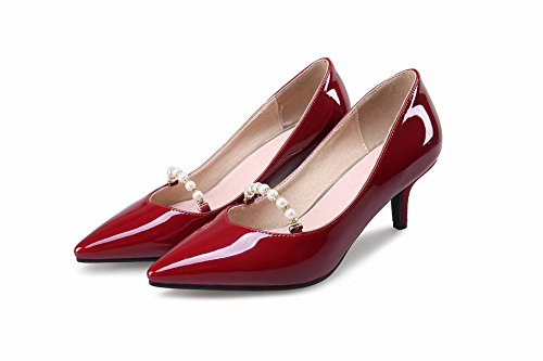 Mee Shoes Damen elegant high heels spitz Pumps Weinrot
