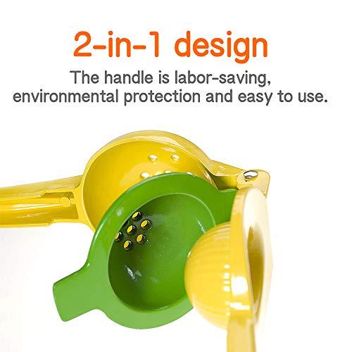 Exprimidores Manuales, 2 en 1 Exprimidor Manual de Limón para hacer Zumo/Ensalada / Bebida Protección Contra la Corrosión, Compatible con lavavajillas: ...