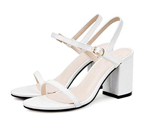 Sommer Sandalen dick mit hochhackigen Sandalen Frauen Sandalen und Frauen, dem Wort Runde Sandalen white