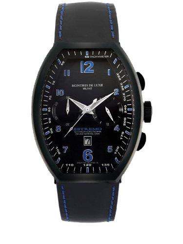 Montres De Luxe Men's EXN 8001 Estremo Black Titanium and Aluminum Chronograph Luminous Leather Date Watch