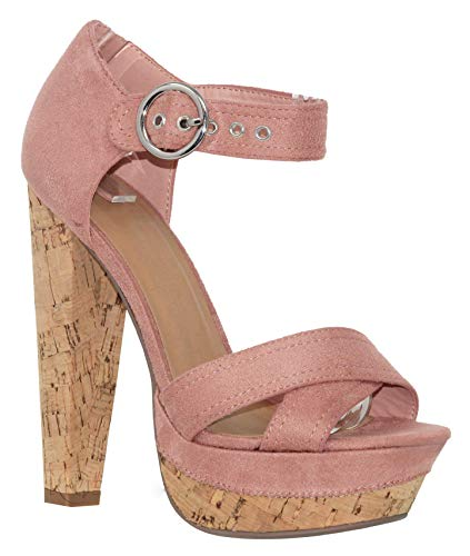 - MVE Shoes Women's Block Cork Heel Platform Thick Strap Comfortable Cushioned Heel, Singing mau ISU 7.5