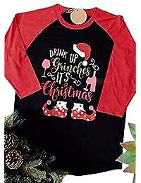 SUPEYA Women Drink Up Grinches It's Christmas Print Top Round Neck Baseball T-Shirt