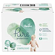 Pampers Pure Disposable Baby Diapers, Hypoallergenic and Fragrance Free Protection, Size 4, 52 Count, Super