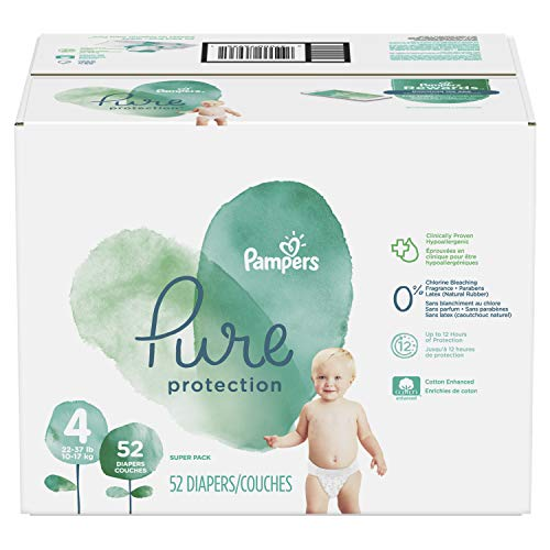 (Diapers Size 4, 52 Count - Pampers Pure Disposable Baby Diapers, Hypoallergenic and Fragrance Free Protection, SUPER)