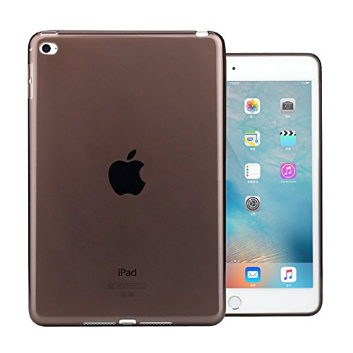 iPad Mini 4 Case, iCoverCase Ultra-thin Silicone Back Cover Clear Plain Soft TPU Gel Rubber Skin Case Protector Shell for Apple iPad Mini 4 7.9 (Black)