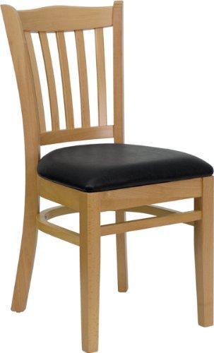 Flash Furniture HERCULES Series Vertical Slat Back Natural Wood Restaurant  Chair   Black Vinyl Seat