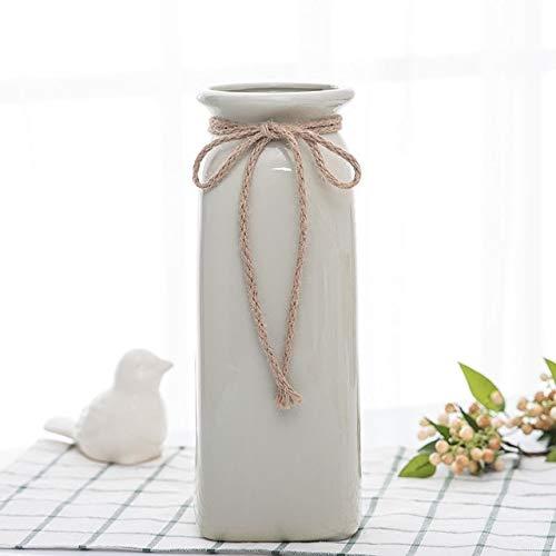 Mountain head 新鮮な文学ホワイト麻ロープ花瓶セラミックドライフラワー花瓶現代のミニマリスト挿入装飾花瓶装飾 Mountain head (Size : C) B07QH4V3LQ  C