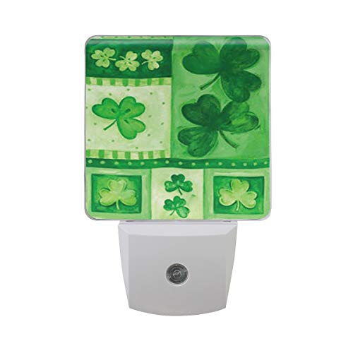 - Spring Happy Patrick's Day shamrock Led Night Light plug in Set of 2 for Bedroom Bathroom Kitchen Hallway,Green Leaves Nightlights Auto Senor Dusk to Dawn for Kids Adults Room Indoor Home Decoration