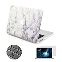 "Topinno®-3in1 White Marble-Hard Shell Case Print Frosted&Free Keyboard Cover Skin and Clear Screen Protector Film for Apple MacBook Air 11"" 11.6"" Inch, Model: A1370/A1465"