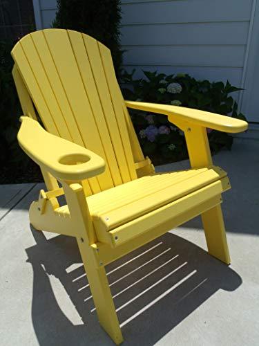 Furniture Barn USA Premium Folding Adirondack Chair w Cup Holder – Poly Lumber – Yellow