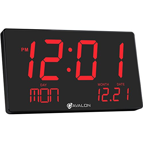 Avalon Oversized LED Digital Clock- Extra Large Display, Easy To Read 3 inch digits, Sleek Design - Wall & Shelf Clock For Home Or Office Use (Date Due Countdown)