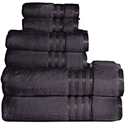Casa Lino - Premium Quality Zero Twist, Air Soft, 6 Piece towel set, 2 Bath towels, 2 Hand Towels 2 Washcloths, Machine washable, Hotel quality, Towel Gift Set- Dove Cotton collection (dark grey)
