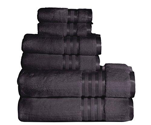 Casa Lino – Premium Quality Zero Twist, Air Soft, 6 Piece towel set, 2 Bath towels, 2 Hand Towels 2 Washcloths, Machine washable, Hotel quality, Towel Gift Set- Dove Cotton collection (dark grey)