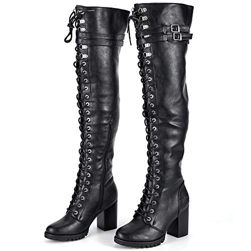 9cfe24140e Milwaukee Riders Motorcycle Boots, Ladies Knee High Laced Boots Women  Harley Boots