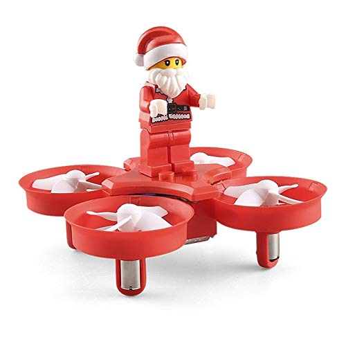 (DishyKooker H67 Flying Santa Claus with Christmas Songs RC Quadcopter Drone Toy RTF for Kids Best Gift Present Red)