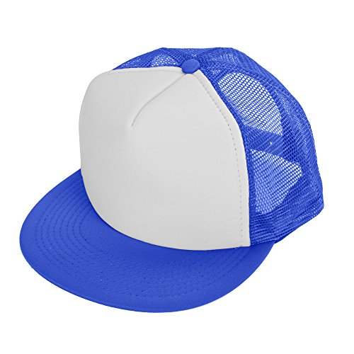 (DALIX Flat Billed Trucker Cap With Mesh Back in Royal-White)