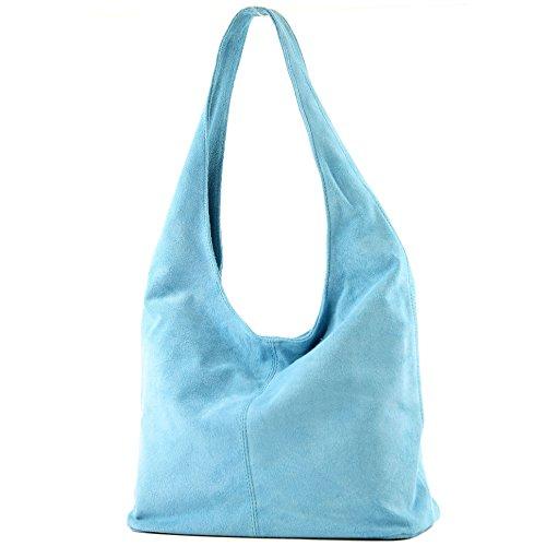 cuero Hellblau Damentasche de modamoda Wildleder Bolso de T150 hombro ital hombro Bolso de de Bolso wPIpgx6q