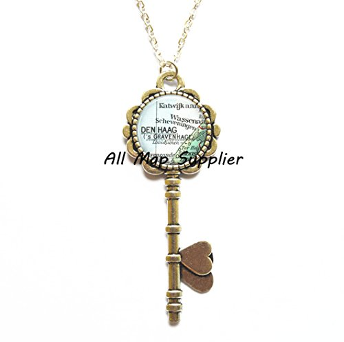 Charming Key Necklace The Hague map Key Pendant, The Hague Key Necklace Den Haag Key Pendant, Netherlands map Key Pendant, Hague Key Pendant,A0025 -