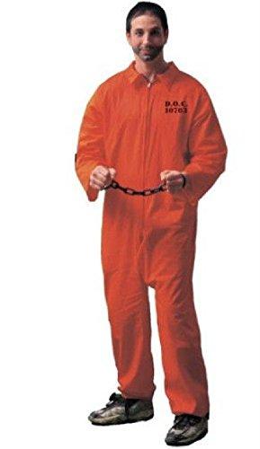 OvedcRay Adult Mens Convict Prisoner Jail Bird Jailbird Costume Orange Jumpsuit