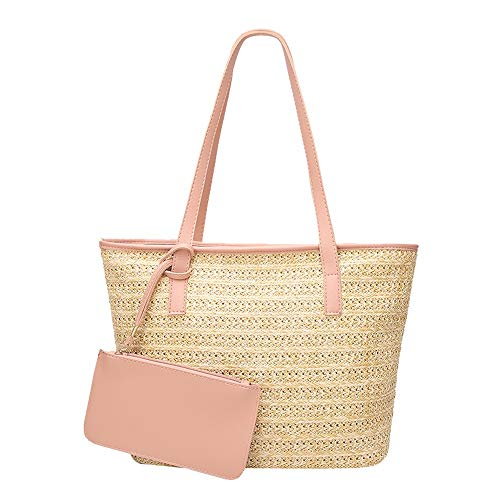 Crossbody Straw Shoulder Women Casual Satchel Woven Bucket Messenger Daughter Handbag Fashion Robemon Pink Bag t1rxwqz1nA