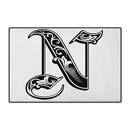 (Letter N,Door Mat Indoors,Gothic Victorian Style Typography Classic Capital Character N with Floral Swirls,Indoors Doorroom Mats Non Slip,Black White,Size,32