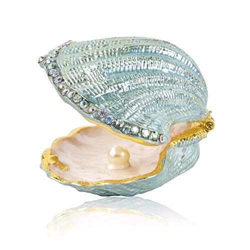 MICG Vintage Pearl Mussel Hinged Trinket Box Wedding Ring Holder Metal Seashell Figurine (White Inside 1pcs)