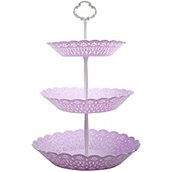 3-Tier Cake Stand and Fruit Plate Cupcake Plastic Stand Purple for Cakes Desserts Fruits Candy Buffet Stand for Wedding & Home & Birthday Party Serving Platter