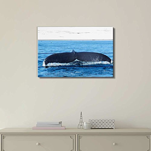 Wll Art Whale Tail on Vintage Wooden Feeling Background and