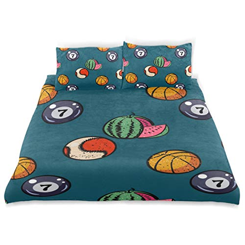 - YCHY Decor Duvet Cover Set, Watermelon Billiards Basketball Baseball Balls A Decorative 3 Pcs Bedding Set with Pillowcases, Queen/Full