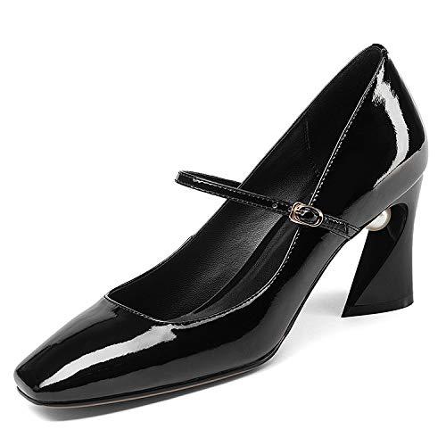à Femmes Square Black Encolure pour Head Chaussures carrée aEqBBw