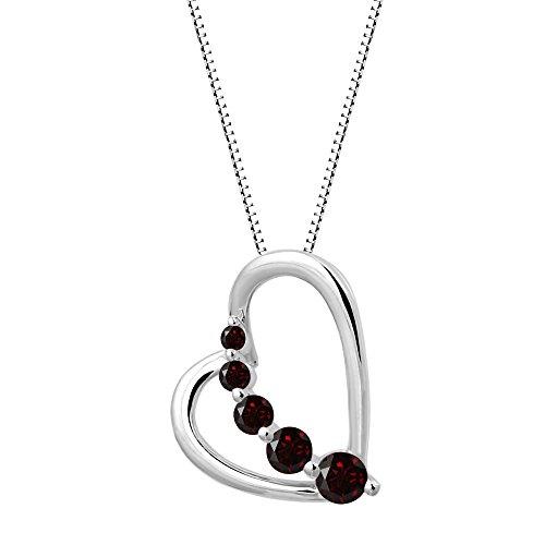 Garnet Journey Pendant - Sterling Silver Garnet Journey Heart Pendant Necklace