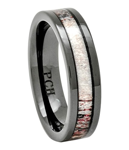 Deer Antler Ring in Black Ceramic 6mm Comfort Fit Wedding Band Size 7 to 12 (11.5) by PCH Jewelers