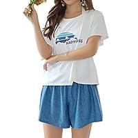 [COTARON] 水着 レディース タンキニ 体型カバー カバーアップ オーバーTシャツ ショートパンツ 水彩柄4点セット