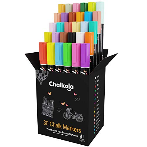 Liquid Chalk Markers - Pack of 30 (Neon + Classic) Chalk Pens - for Chalkboard, Blackboard, Window, Labels, Bistro, Glass - Wet Wipe Erasable - 6mm Reversible Bullet & Chisel Tip