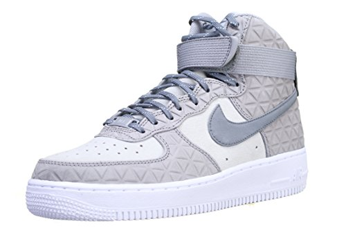 Nike AIR FORCE 1 HI PRM SUEDE womens basketball-shoes 845065-001_9.5 - MATTE SILVER/COOL GREY-PURE PLATINUM (Nike Air Force One Wedge Sneakers)