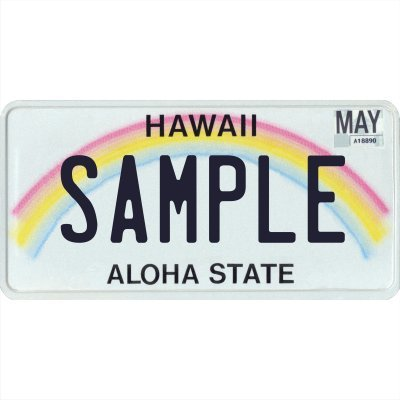 "Custom Personalized Metal License Plate Your Name Your State - Choose from All 50 States (Hawaii Rainbow, 6"" x 12"" Standard Thickness (.030""))"