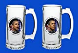 Set Of 2 Barack Obama Commemorative Beer Mug Glasses Steins - In Stock, Ships Right Away