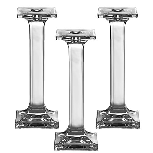 Light In The Dark Set of 3 Glass Candle Stick Holders - Square Taper Candles Holder - for Candlestick, Dinner Candles, Party and Wedding Centerpieces, Table Decoration (9.5 Inch Tall)