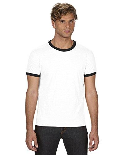 Starlite_Anvil Adult Lightweight Ringer Tee-Mens Short Sleeve T-Shirt by Anvil-White/Black-2XL