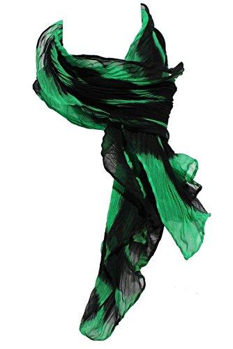 Shortie Kelly Green & Black Arashi Shibori Silk Chiffon Scarf by ArtisanStreet