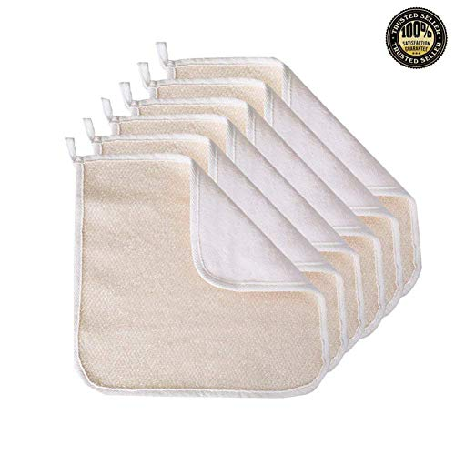 (6 Pack Exfoliating Face Body Wash Cloth Towel, Soft-Weave Scrub Towel Cloth Beauty Skin Home Massage Bath Cloth for Skin Care, Shower Scrubber, Remove Dead Skin(Exfoliating Side and Soft Terry Side Cloth))