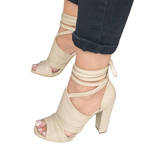 - Runcati Womens Ankle Wrap Chunky Block Heels Peep Toe Pumps Lace up Strappy Suede High Heeled Sandals