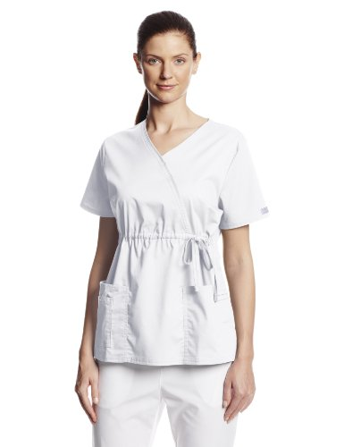 - Cherokee Women's Workwear Scrubs Core Stretch Gathered Front Mock Wrap Top, White 4X-Large