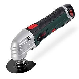 Varo - Minilijadora inalámbrica (con batería, hojas de sierra, discos lijadores, papel de lija y rasqueta)