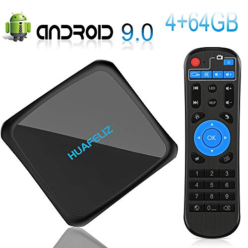 Android 9.0 TV Box,Smart Media Player 4+64GB Media Box,Support 2.4+5G Dual WiFi/3D/1080P/4K Android TV Box with Remote…