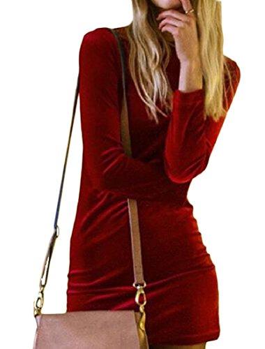Coolred-femmes Noël Souple En Forme Velours Or Massif Couleur Robe Rouge Vin